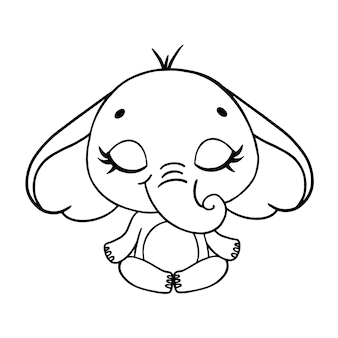 Doodle cute cartoon animals meditate. elephant meditation coloring page.