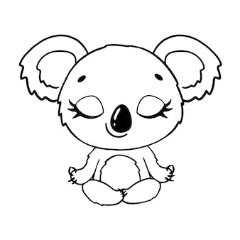 Doodle cute cartoon animals meditate. koala meditation coloring page.