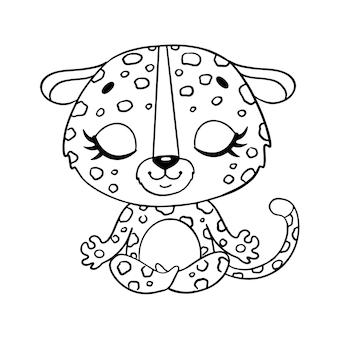 かわいい漫画の動物を落書き瞑想します。ヒョウ瞑想ぬりえ。