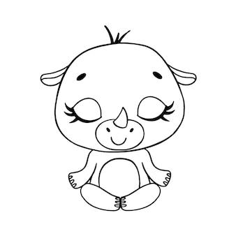 Doodle cute cartoon animals meditate. rhinoceros meditation coloring page.