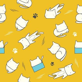 Doodle cute cartoon lazy cat pattern seamless