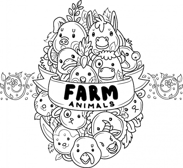 Doodle cute farm animals in egg shape