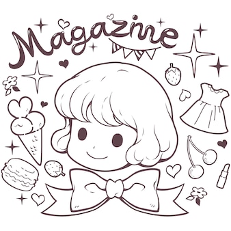 Doodle cute girl head vector
