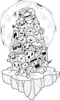 Doodle cute halloween monster