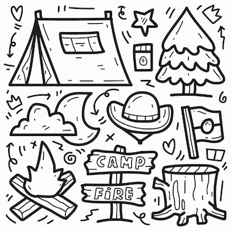 Doodle cute hand drawn cartoon camper