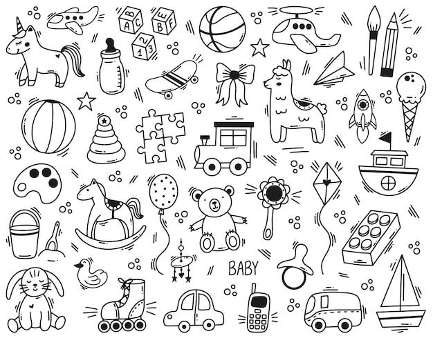 낙서 귀여운 아이 장난감 손으로 그린 요소. 유치원 재미있는 어린이 장난감, 공, 인형, 곰, 장난감 자동차 벡터 삽화 세트. 귀여운 베이비 샤워 장난감. 장난감 그림, 말 낙서의 그림