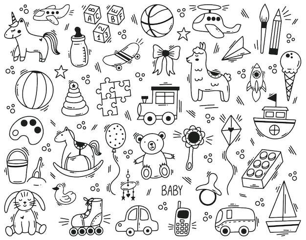 Doodle cute kids toys hand drawn elements. kindergarten funny children toys, ball, doll, bear and toy car vector illustration set. cute baby shower toys. illustration of toy drawing, horse doodle