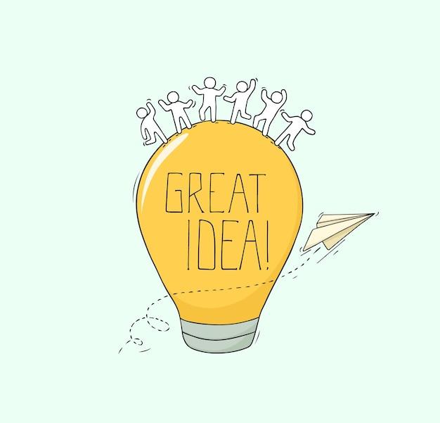 Doodle cute miniature scene about great idea