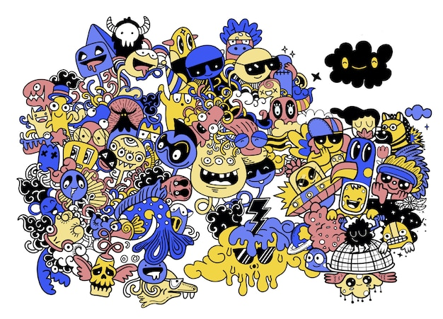 Doodle cute monster background, hand drawing doodle