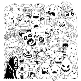 Doodle cute monster background