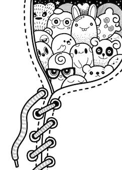 Doodle милая группа монстров скрывается в кроссовках