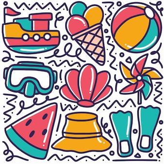 손으로 그린 해변 도구를 디자인 아이콘과 요소로 묘사 한 낙서
