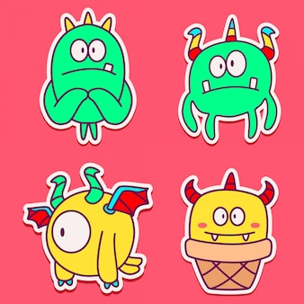 Doodle design cartoon monsters stickers template