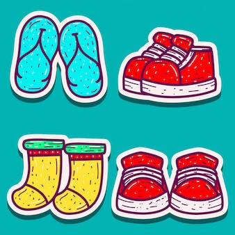 Doodle design cartoon stickers for shoes, sandals and socks