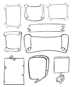 さまざまなバナーのための落書きデザイン