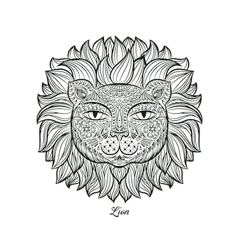 Doodle design of a lion head