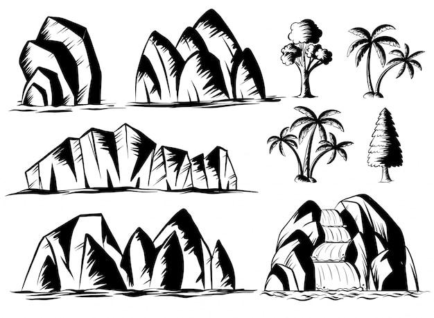 Disegno doodle per montagne e alberi