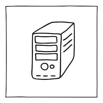 デスクトップコンピュータのアイコンまたはロゴを落書きし、細い黒い線で手描きします。白い背景で隔離。ベクトルイラスト