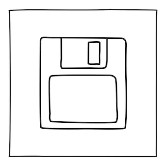 Doodle diskette save icon or logo, hand drawn with thin black line.
