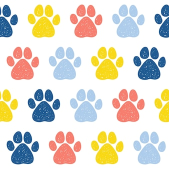 Doodle dog paw seamless pattern background. abstract dog paw track swatch  for card, invitation, veterinarian clinic poster, textile, bag print, modern workshop advertising etc.