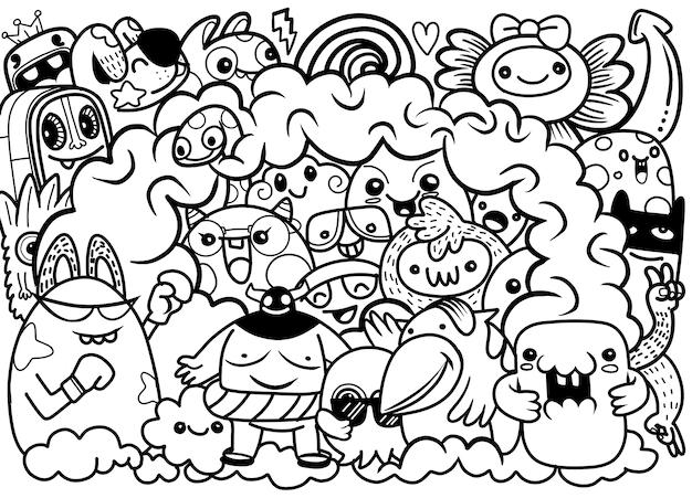 Векторная иллюстрация doodle милый фон монстра, рука рисунок doodle