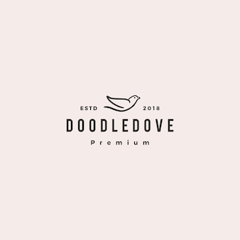 Doodle dove logo vector icon illustration