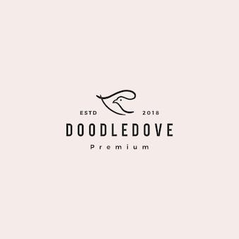 Doodle dove logo vector icon illustration