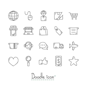Doodle e-commerce icons.