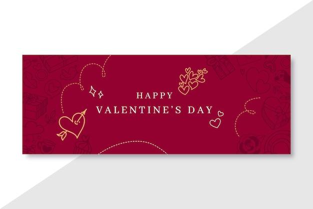 Doodle elegant valentine's day facebook cover template