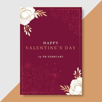 Doodle elegant valentine's day poster template