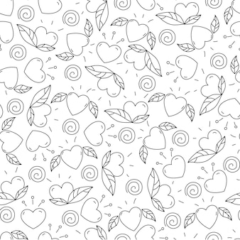 Doodle elements for valentines day. hearts and leaves. seamless pattern. design for coloring page.