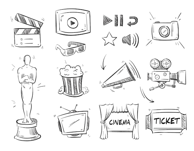 Doodle entertainment cinematography, movie film video, cinema icons. Free Vector