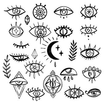 Набор рисованной глаза каракули. коллекция mystic symbols boho. дурной глаз, полумесяц и искусство кристаллов. векторная иллюстрация