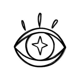 Doodle eyes hand drawn set. mystic symbols boho collection. evil eye, crescent moon and crystals art. vector illustration