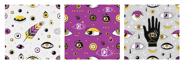 Doodle eyes pattern. greek contemporary hand drawn elements, trendy seamless ethnic texture with evil eyes symbols. vector illustration vintage mystical pattern