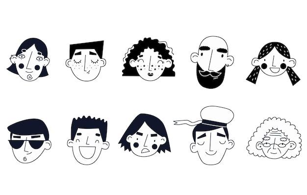 Каракули лица старого и молодого возраста различные эмоции векторные иллюстрации