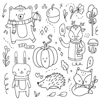 Каракули осень осенние элементы ручной рисунок. осенняя коллекция мультяшных штрихов. современный абстрактный осенний сезонный символ украшения значок животного и тыквы