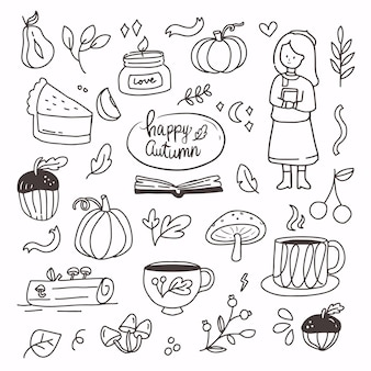 Doodle fall autumn elements hand drawing. autumn collection cartoon line art. modern abstract fall seasonal decoration icon symbol of pumpkin, candle, mushroom, girl