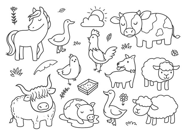 農場の動物を落書き