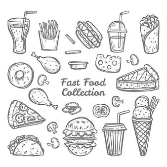 Doodle fast food collection. hand drawn style