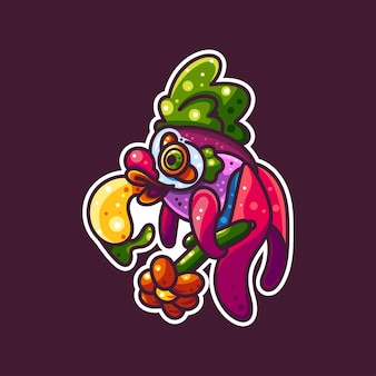 Каракул рыбы для икона, логотипа, стикера и иллюстрации