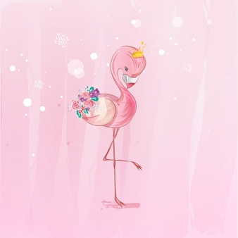 Doodle flamingo花の水彩画を描く。