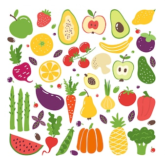 Doodle flat fruits and vegetables. hand drawn berries potato onion tomato apples, vegetarian set. fruits doodle sketch colourful organic illustrations fresh style