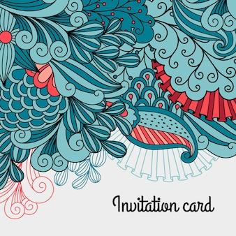 花のカードのデザインを落書き。装飾的な招待状のテンプレート