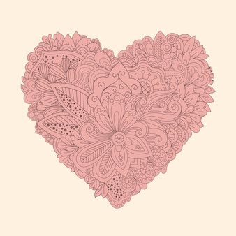 Doodle floral heart. vintage printable heart with linear flowers