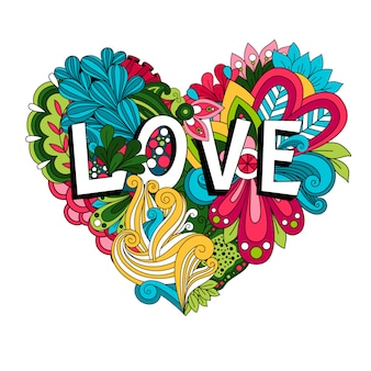 Doodle floral heart with love lettering for valentines day card