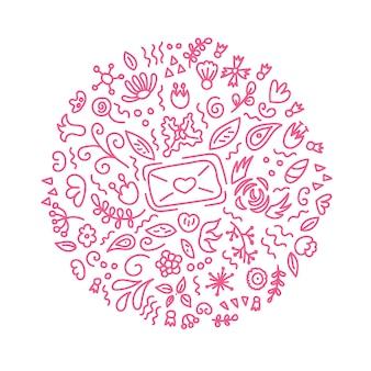 花の要素で花の装飾品が刻まれたサークルラブレターを落書きバレンタインデー