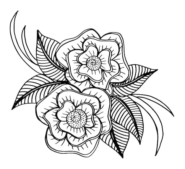 黒と白の落書きの花柄
