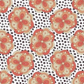 꽃 패턴 낙서. 벡터 가을 완벽 한 배경. 포장지, 포장 디자인 및 섬유 직물 용 일러스트레이션