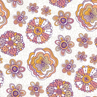 꽃 패턴 낙서. 벡터 boho 배경입니다. 포장지, 포장 디자인 및 섬유 직물 용 일러스트레이션